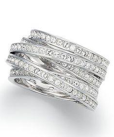 Swarovski Ring, Silver Tone Crystal Spiral Ring