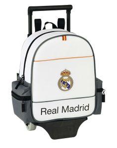 La última colección de papelería escolar del Real Madrid para este año 2014 está inspirada en la equipación oficial del club blanco para la actual temporada. Dimensiones: 21 cm x 26 cm x 10 cm.