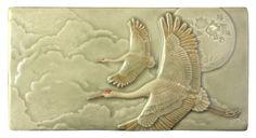 Flying sandhill cranes, Of One Heart, inch tile, Celadon Grey by MedicineBluffStudio on Etsy Pottery Studio, Mold Making, Tile Art, Ceramic Art, Crane, Ceramics, Vintage, Artwork, Gifts