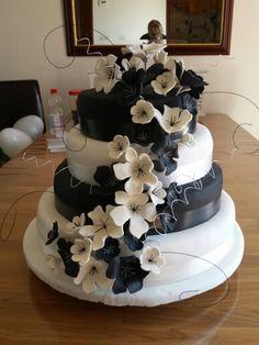 Zwart wit bruidstaart