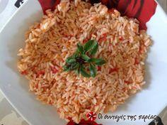 Ντοματόρυζον το σπυρωτόν #sintagespareas Greek Recipes, Grains, Dinner Recipes, Rice, Food, Essen, Greek Food Recipes, Meals, Seeds
