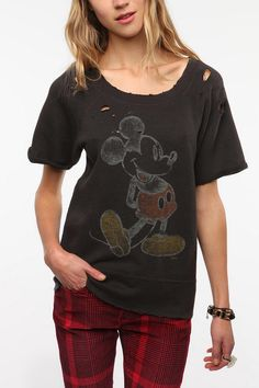 Junk Food Distressed Short-Sleeved Mickey Sweatshirt  $29.99  @ Urban Outfitters