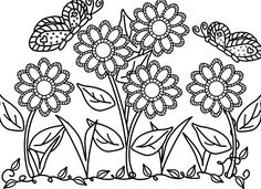 flower garden care beautiful flower garden with butterfly coloring pages - Relaxing Flower Garden Coloring Pages Free Printable Flower Coloring Pages, Garden Coloring Pages, Spring Coloring Pages, Preschool Coloring Pages, Coloring Pages To Print, Coloring Book Pages, Coloring Pages For Kids, Flower Garden Pictures, Butterfly Coloring Page