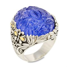 """Carved Lapis Ring Set in Sterling Silver & 18K Gold Accents """"Melanie"""" 