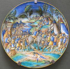 Pesaro, pittore di zenobia, piatto con generale romano catturato, 1550-60 ca.JPG