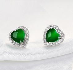 Fashion Jewelry Earrings ,925 Silver Earring stud for women& girl with Natural Chrysoprase ,heart shaped green stone Earring