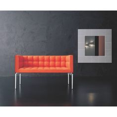 Alivar's Buddyboss Leather Sofa - A modern design classic with button detailing, shown here in cheerful orange leather. Luxury Sofa, Luxury Living, Orange Leather, Daybed, Leather Sofa, Sofas, Modern Design, Decor Ideas, Couch