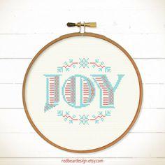 Modern Christmas cross stitch pattern - Simple Joy - Xstitch Instant download - Modern Xmas floral christmas joy Love Heart Sweet Home