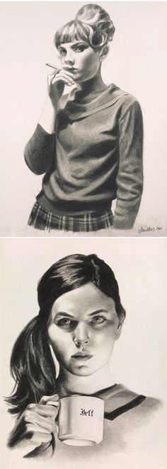 mercedes helnwein - black pencil on paper. She also did the artwork for the Eight And A Half S/T album.