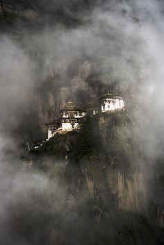 The Tiger's Nest (Takshang Lhakang), one of Bhutan's most sacred monasteries.