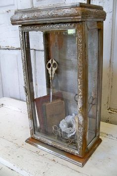 Ornate Display Box Showcase Glass Faux Metal Rusty Finish French Farmhouse…