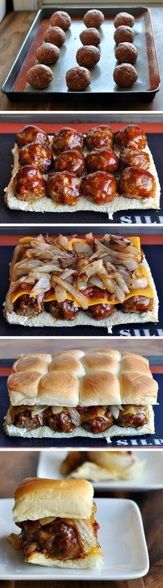 Smokey Mesquite BBQ Meatball Sliders