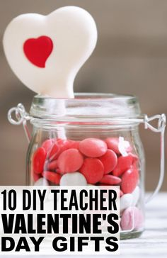 If you're looking for the perfect Valentines ideas to make with your kids to help show a little teacher appreciation, this collection of 10 DIY Valentines teacher gifts to make with your kids is a great place to start. I particularly like the mason jar gifts with free printables as they are a fabulous yet inexpensive Valentines gift to show how much you care!