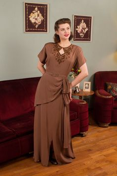 Vintage 1940s Dress  Striking Bronze and Brown Beaded by FabGabs