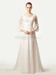 Romala - trapezio coda a strascico corto abito da sposa in chiffon con perline