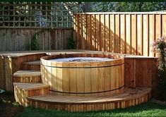 whirlpool im garten Western Red Cedar Hot Tub Luxury Spa Life Whirlpool Deck, Hot Tub Surround, Round Hot Tub, Hot Tub Accessories, Piscine Diy, Tub Enclosures, Hot Tub Deck, Hot Tub Garden, Patio Steps