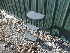 Gray Metal Stool Industrial Age Step Ladder by TheOldGrainery