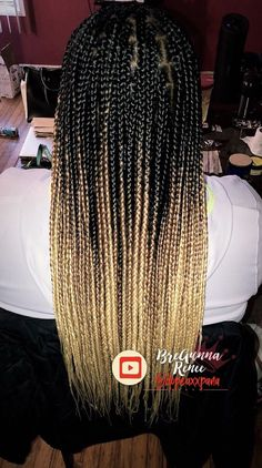 Ombre Box Braids by: IG Dopeaxxpana - Ombre Box Braids, Short Box Braids, Blonde Box Braids, Jumbo Box Braids, Black Girl Braids, Girls Braids, Ombre Hair, Colored Box Braids, Tresses Box Braids