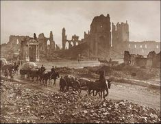 Ruins of the Cloth Hall, Cathedral, and Bishop's Place, Ypres by Frank Hurley World War One, First World, Ww1 Photos, Flanders Field, Rare Pictures, Hurley, War Horses, Ypres Belgium, Cathedral