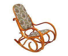 Sedia a dondolo in legno con fodera damascata, 90x97x55 cm
