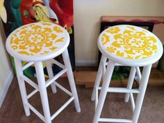 The finished product from the DIY bar stool pin