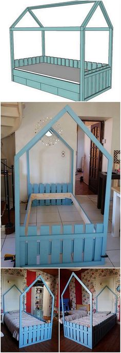 To have something really simple and creative in the kids room then placing bunk bed piece design for sure. Here we would bring you closer to this image. Here an interesting styling of the wood pallet bunk bed is settled that is overall finished with the perfect versions of the pallet.