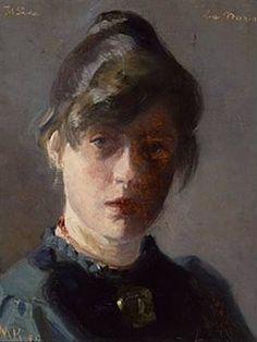 "Danish artist Marie Krøyer (1867–1940 born in Stockholm, Sweden) ""Selvportræt (Self-Portrait"",1889. Marie Krøyer was married to the Danish painter P.S. Krøyer (1851-1909 born in Stavanger, Norway)."