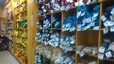 Briggs & Little Woolen Mills - Shelf of yarns