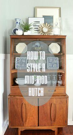 1 credenza 4 ways mid century modern coastal vintage for Modern living room hutch