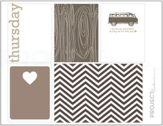 Neutral Love project life modern scrapbooking journaling cards in Thursday PDF PNG. $2.00, via Etsy.