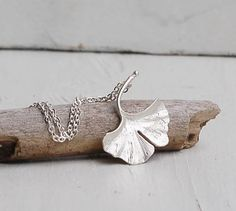 Silver Ginkgo LEAF Necklace Autumn Fall Leaf by redtruckdesigns, $29.50