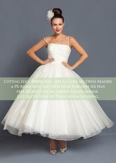 Short, Tea Length and 1950's Inspired Wedding Dresses by Cutting Edge Brides + Savings For Love My Dress Readers | Love My Dress® UK Wedding Blog