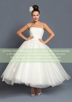 Short, Tea Length and 1950's Inspired Wedding Dresses by Cutting Edge Brides + Savings For Love My Dress Readers | Love My Dress® UK Wedding Blog