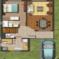 CASA#14 El plano del primer piso deja ver un dormitorio matrimonial con acceso a su baño privado, también dispone de un baño de visita, cocina, li...
