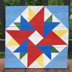 Barn Quilt Designs, Barn Quilt Patterns, Quilting Designs, Goat Barn, Painted Barn Quilts, Miscellaneous Goods, Rustic Barn, How To Distress Wood, Amish