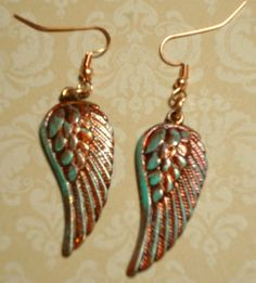 Simple Angel Wing Earrings .. used Alchol Inks and Gilders Paste .. Designed By Jann Tague .. Clever Designs .. https://www.facebook.com/#!/JewelsByJann