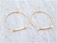 Quartz Crystal Necklace, Crystal Jewelry, Crystal Earrings, Wire Wrapped Earrings, Diy Earrings, Hoop Earrings, Wire Wrapping Crystals, Cute Jewelry, Jewelry Design