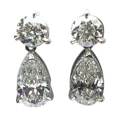 Classic Round and Pear Shape Diamond Drop earrings explore items from 1,700  global dealers at 1stdibs.com