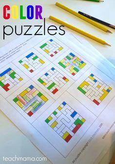 FREE color puzzles! Such a fun, creative and unique logic idea for kids kindergarten, 1st grade, 2nd grade, 3rd grade, and 4th grade (math, math worksheets, homeschool)