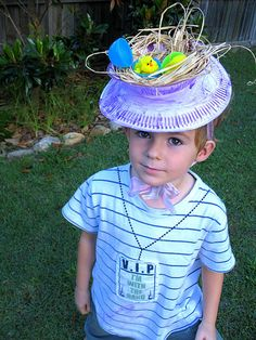 Love these homemade Easter bonnets made with paper plates and paper bowls! I think this would be more appropriate for the girls though! Maybe make a top hat version for boys using an oatmeal can on top of plate?