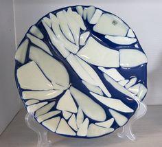 Fused glass plate - Ice breaks