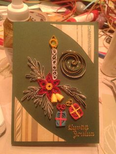 Christmas candle by quilling