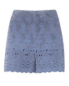 blue suede shorts