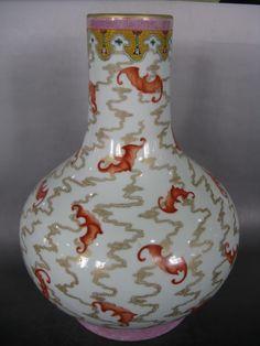 Vintage Chinese vase with orange bats