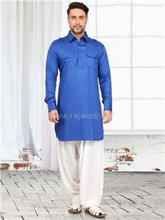 Exclusive Blue Pathani kurta crafted on cotton Silk fabric. This Pathani Suit is highlighted with fancy buttons. Pathani For Men, Pathani Kurta, Cotton Silk Fabric, Fancy Buttons, Occasion Wear, Dapper, Chef Jackets, Menswear, Suits