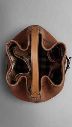 Large Nubuck Leather Hobo Bag   Burberry