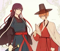 Korean Traditional, Traditional Outfits, Handsome Anime Guys, Character Illustration, Manhwa, Art Reference, Watercolor Paintings, Geek Stuff, Drawings