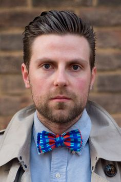 Tom wearing Charles Olive bow tie:  'Boswell' Blue / Red http://charlesolive.com/