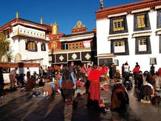 Jokhang Temple — the spiritual center of Tibet — in the center of old Lhasa.
