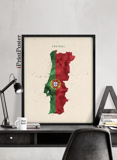 Portugal map flag watercolour print, Portugal flag map poster, Art print, Wall art, Travel, Wall decor, Office art, Home Decor, iPrintPoster by iPrintPoster on Etsy